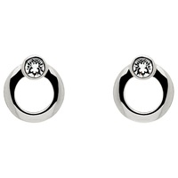 Cachet London Polished Plated Swarovski Crystal Stud Earrings Silver