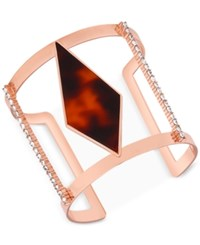 Guess Rose Gold Tone Red Tortoiseshell Look And Pave Openwork Cuff Bracelet Multi