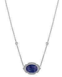 Penny Preville 18K East West Oval Opal And Diamond Pendant Necklace