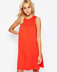 Asos Sleeveless Swing Dress With Ruching Detail Red