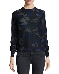 Zadig And Voltaire Cashmere Camouflage Print Pullover Sweater Marine