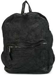 Giorgio Brato Leather Zip Backpack Black