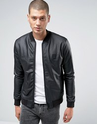 Religion Bomber Jacket In Coated Jersey Black
