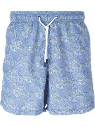Etro Paisley Print Swim Shorts Blue