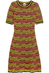M Missoni Crochet Knit Cotton Blend Mini Dress Chartreuse