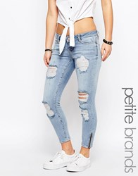 Noisy May Petite Eve Super Slim Ankle Zip Jeans Blue
