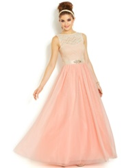 Teeze Me Juniors' Glittered Lace Ball Gown Guava Natural