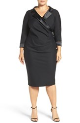 Alex Evenings Plus Size Women's Satin Collar Surplice Sheath Dress Black