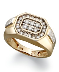 Macy's Men's Diamond Rectangle Ring In 14K Gold 1 2 Ct. T.W.