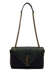 Saint Laurent Ysl Monogrammed Three Tone Quilted Satchel Bag Green