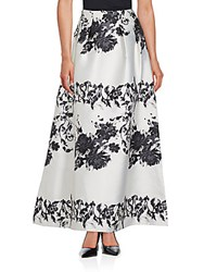 Kay Unger Pleated Printed Long Skirt White Black
