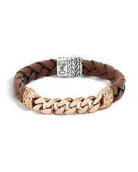 John Hardy Classic Chain Gourmette Bronze And Sterling Silver Bracelet On Braided Brown Leather Cord Silver Bronze