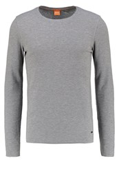Boss Orange Terris Slim Fit Long Sleeved Top Light Pastel Grey Light Grey