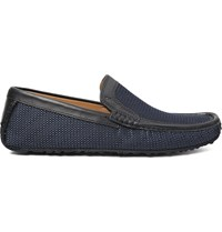Harry's Of London Jet Moc 5 Leather Trimmed Woven Silk Loafers Blue