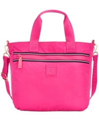 Tommy Hilfiger Solid Nylon Large Convertible Satchel Pink