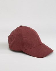 Asos Baseball Cap In Burgundy Peached Texture Burgundy Red