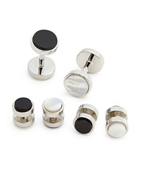 The Men's Store At Bloomingdale's Polished Rhodium Reversible Stud And Cufflink Set Silver
