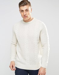 Bellfield Cable Knitted Jumper White