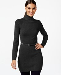 Inc International Concepts Petite Belted Turtleneck Tunic Only At Macy's Deep Black