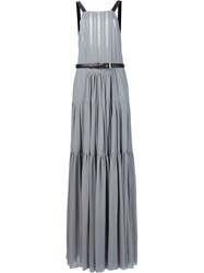 Vera Wang Bib Neck Apron Gown Pink And Purple