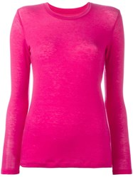 Issey Miyake Cauliflower Round Neck Knit Blouse Pink Purple