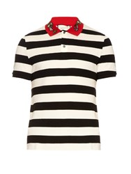 Gucci Snake Applique Cotton Polo Shirt Black Multi