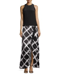 L.A.M.B. Solid And Diamond Print Maxi Dress White Black