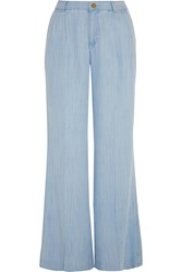 Michael Michael Kors Chambray Wide Leg Pants Blue