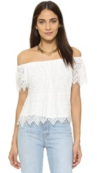 Cupcakes And Cashmere Sunset Lace Off Shoulder Top Ivory