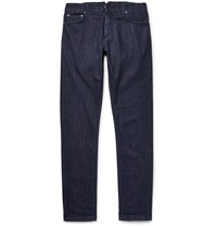 Isaia Slim Fit Washed Selvedge Stretch Denim Jeans Blue