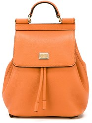 Dolce And Gabbana Small 'Sicily' Backpack Yellow And Orange