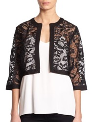 Harrison Morgan Embroidered Lace Bolero Jacket Black