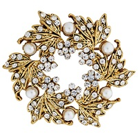 John Lewis Vintage Gold Plated Glass Stone Wreath Brooch Gold