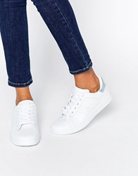Missguided Silver Tab Trainers White