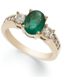 Macy's 14K Gold Ring Emerald 1 1 10 Ct. T.W. And Diamond 1 2 Ct. T.W. Oval Ring
