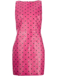 Saint Laurent Polka Dot Shift Dress Pink And Purple
