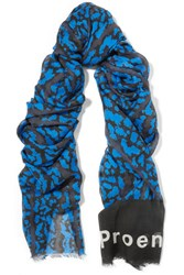 Proenza Schouler Printed Modal And Silk Blend Scarf Royal Blue