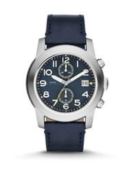 Marc By Marc Jacobs Larry Stainless Steel And Leather Chronograph Watch Navy Silver