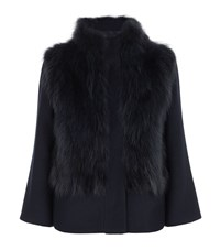 Max Mara Maxmara Weekend Fur Trim Jacket Female Blue
