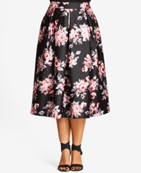 City Chic Plus Size Floral Print Sateen Midi Skirt Black