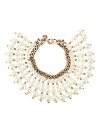 Lydell Nyc Golden Double Strand Pearly Fringe Bracelet Women's