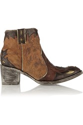 Mexicana Shanghai Distressed Leather And Suede Ankle Boots Brown