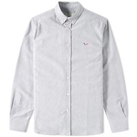 Maison Kitsune Button Down Classic Tricolour Fox Oxford Shirt Black