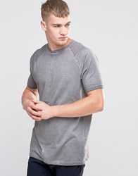 Asos Longline Raglan T Shirt With Pigment Dye And Wide Neck Trim Wild Dove Grey