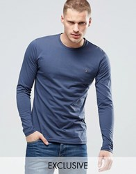 Farah Long Sleeve T Shirt With F Logo In Slim Fit In Navy Navy Blue