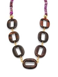 Nest Purple Agate And Ebony Wood Link Long Necklace