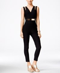 Material Girl Juniors' Sleeveless Belted Jumpsuit Only At Macy's Black
