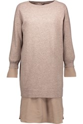 Brunello Cucinelli Cashmere And Silk Sweater And Dress Set Beige
