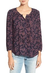 Hinge Women's Print Button Front Blouse Navy Night Rushed Floral