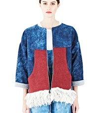 The Autonomous Collections Fringe Denim Jacket Blue